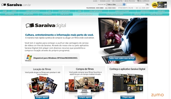 home page da Saraiva Digital