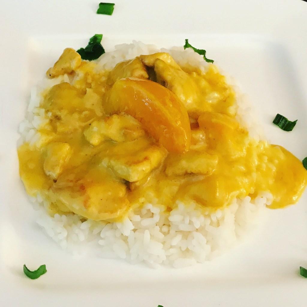 Pfirsich Hähnchenbrust Geschnetzeltes mit Curry