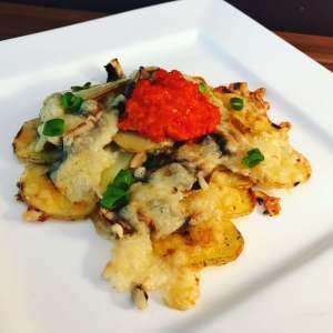 Ofenkartoffeln mit Champignons und Käse