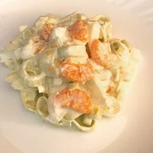 Porree Salat mit säuerlich süßlichen Geschmack