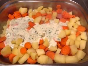 Cabanossi Möhren Kartoffel Auflauf Zubereitung