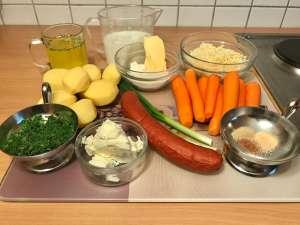 Cabanossi Möhren Kartoffel Auflauf Zutaten