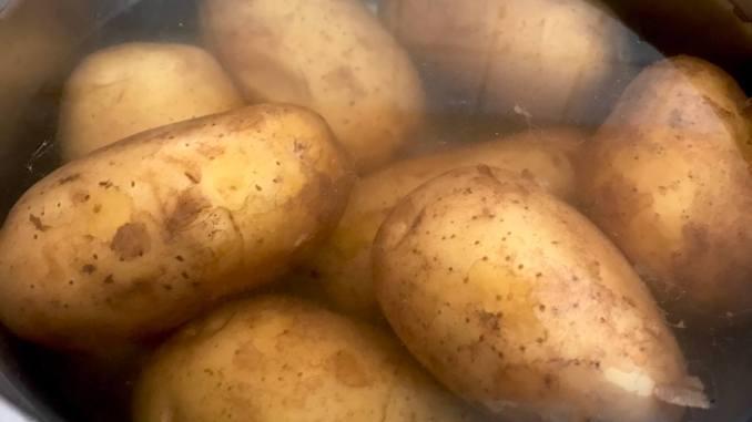 Pellkartoffeln für den Kartoffelsalat mit Speck und Zwiebeln