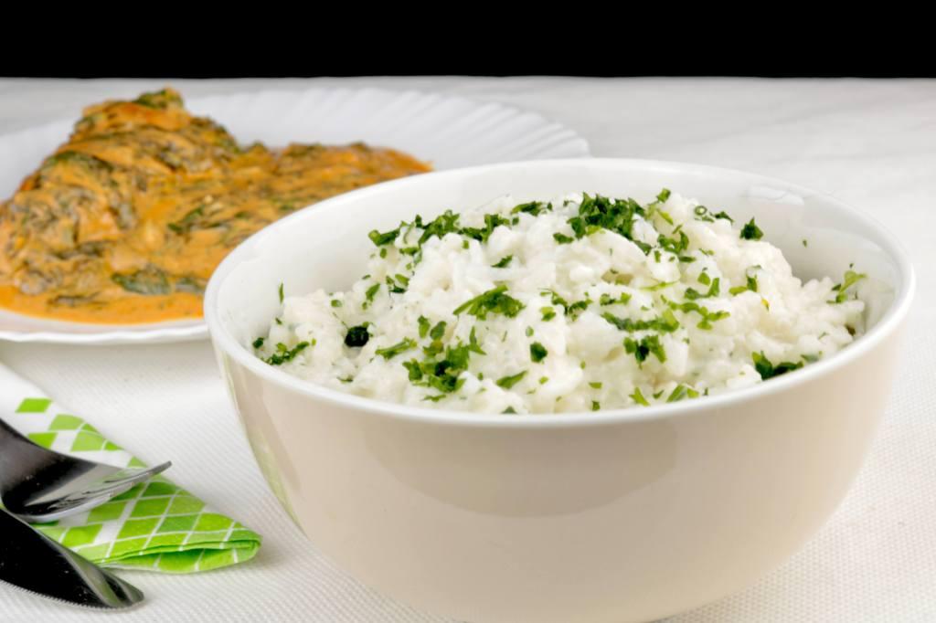 Zubereitung Reis mit Frischkäse und Kräutern
