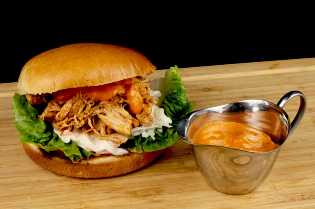 Metaxa Pulled Chicken Burger