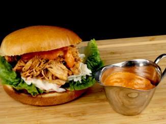 Metaxa Pulled Chicken Burger