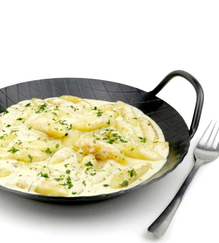 Schnelle Feierabend Küche mit Schupfnudeln un Parmesan Sauce