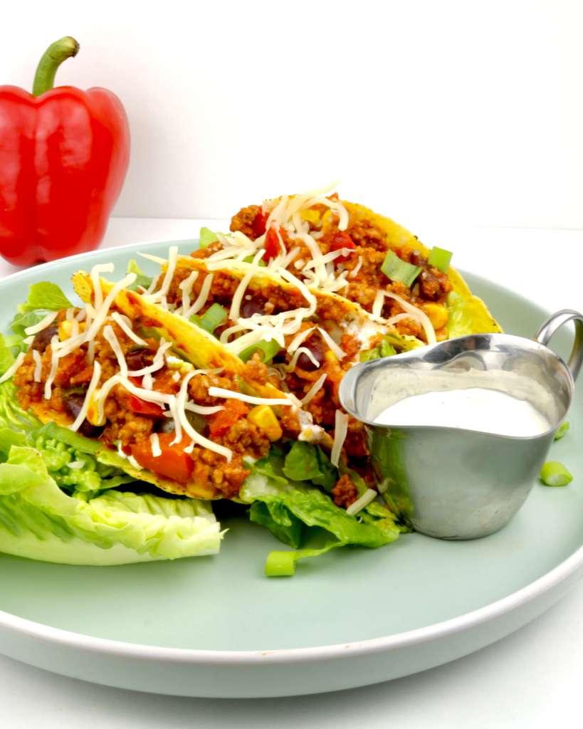 Serviervorschlag gefüllte Hackfleisch Tacos