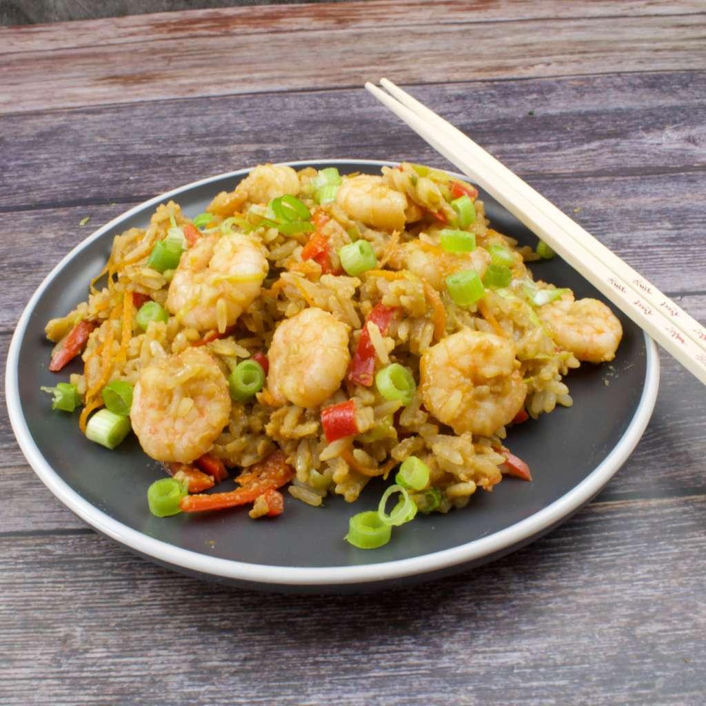 Zubereitung Gebratener Reis mit Garnelen