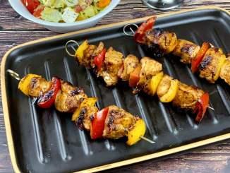 Paprika Hähnchen Grillspieße