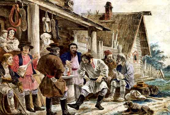 A painting of dancing peasants.