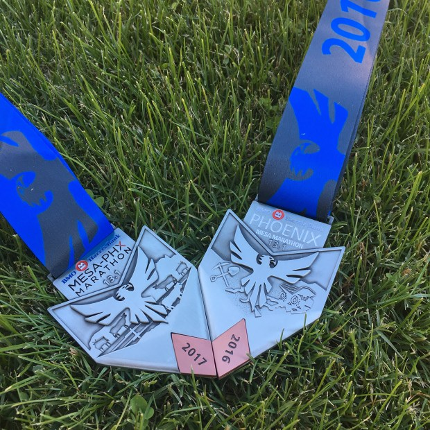 Mesa-Phx Half Marathon medals 2016 and 2017