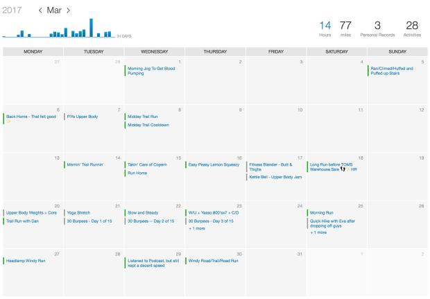 workout calendar strava
