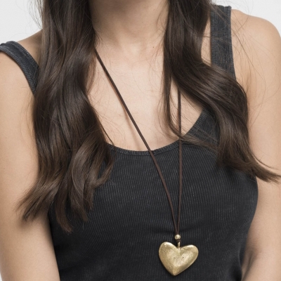 Gold Heart Necklace on Model
