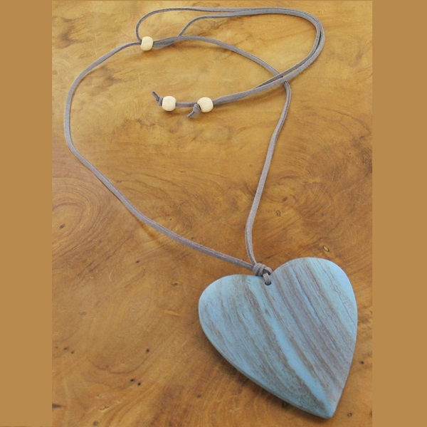 Wooden Large Heart Necklace - Blue