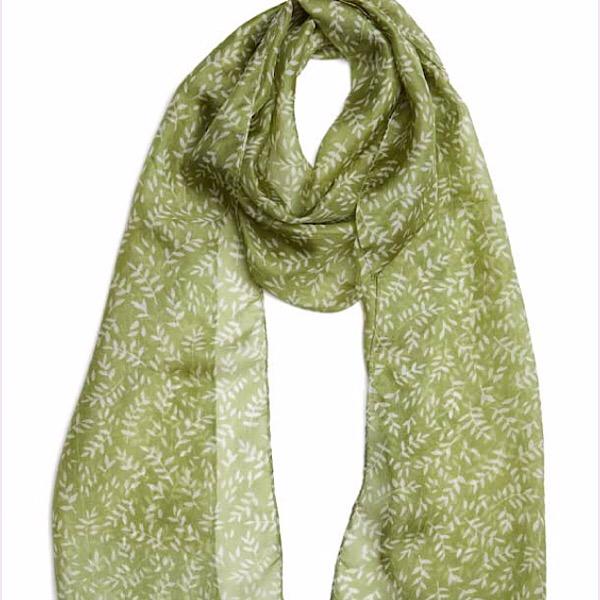 Printed Silk Scarf Paloma Green