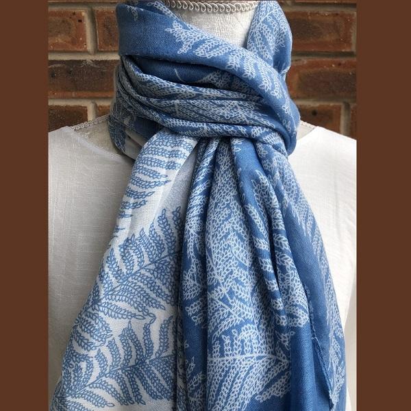 fern scarf blue