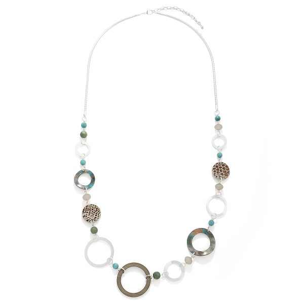 Long resin and silver hoop necklace