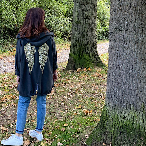 Angel Wing Hooded Cardigan Charcoal