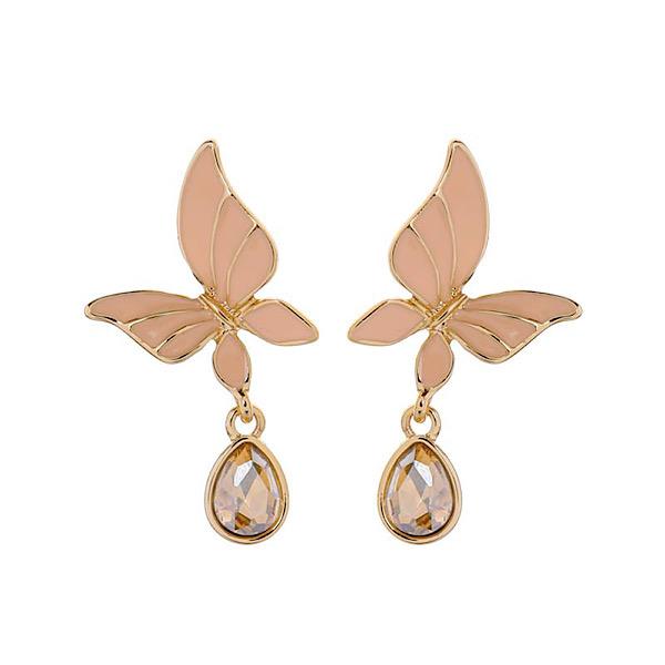 Butterfly Peach Enamel Earrings