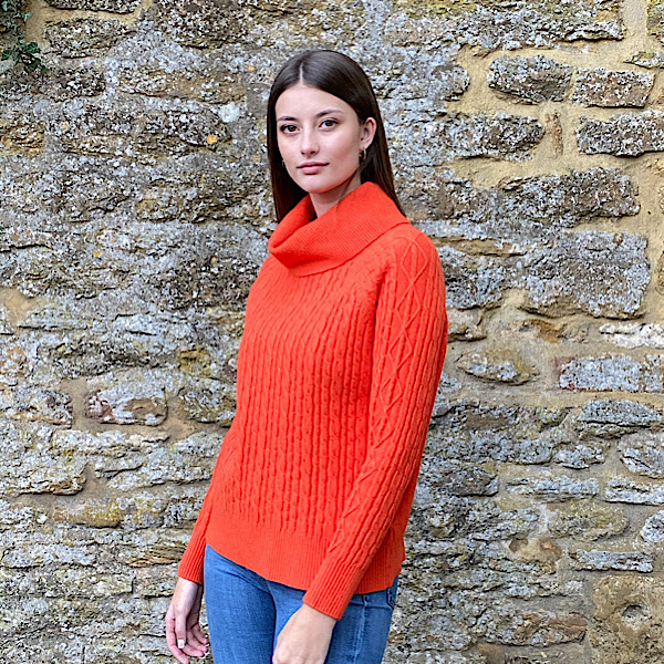 Cable Knit Polo Neck Jumper Orange