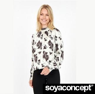 Linea Cream & Black Blouse SOYACONCEPT - front