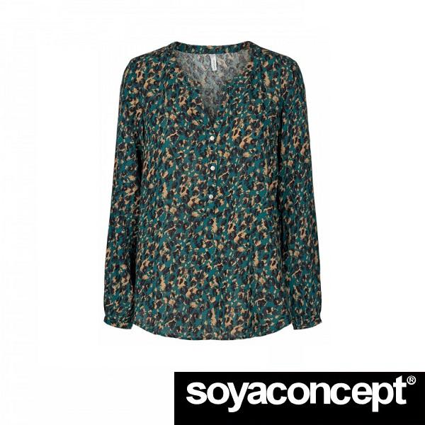 Lioba Leopard Print Syle Blouse Green SOYACONCEPT - Front 1