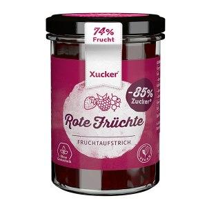 XUCKER Fruchtaufstrich Waldbeere 74% mit Xylit 220 g Glas. Zuckerfreie Marmelade kaufen. Zuckerfreie Marmelade Xucker bestellen. Xucker Marmelade ohne Zucker kaufen. Xucker Fruchtaufstrich mit Birkenzucker, Xylit gesüßt