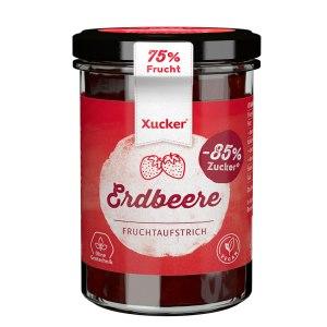 XUCKER Erdbeere Fruchtaufstrich 74% mit Xylit 220 g Glas kaufen. Zuckerfreie Marmelade, gesüßt mit Xylit, Birkenzucker. Erdbeer Marmelade ohne Zucker Xucker
