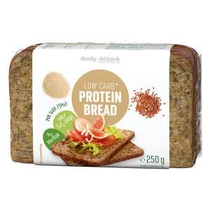 Body Attack Low Carb Protein Bread Eiweißbrot 250 g Packung kaufen. 11 g Protein pro Scheibe Eiweißbrot. Nur 3,8 g Kohlenhydrate pro Scheibe Protein Bread!