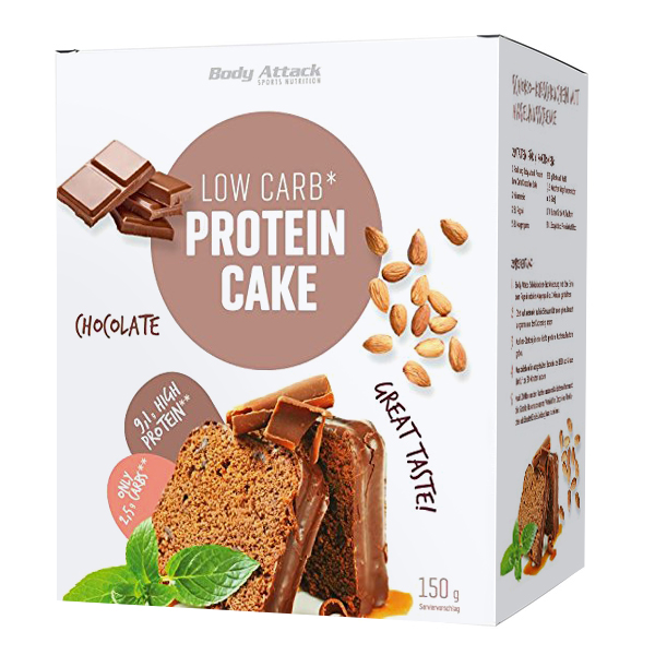 Body Attack Low Carb Protein Cake Backmischung Schokoladenkuchen 150 g Packung.18% Eiweiß, 7% Kohlenhydrate. Body Attack Low Carb Protein Cake kaufen!