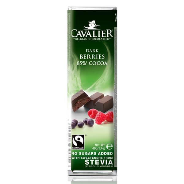 Cavalier Stevia Schokoriegel Dark Berries 85 % Cocoa Zartbitterschokolade kaufen. Zuckerfreie Schokolade, Cavalier Stevia Schokoriegel kaufen. Low Carb Shop