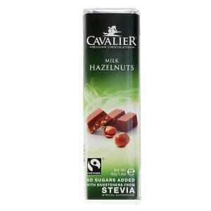 Cavalier Stevia Schokoriegel Milch Haselnuss 40 g online kaufen. Zuckerfreie Schokolade, Cavalier Stevia Schokoriegel Milch Haselnuss kaufen. Low Carb Shop!