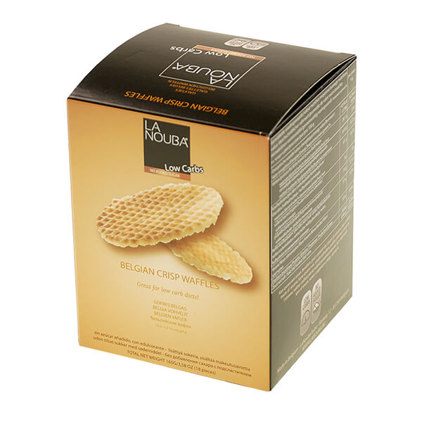 La Nouba belgische Knusperwaffeln Crisp Waffles zuckerfrei 165 g kaufen. Zuckerfreie Low Carb Waffeln gesüßt mit Maltit. La Nouba Knusperwaffeln kaufen!