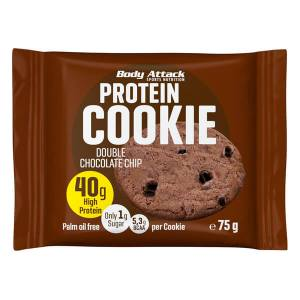 Body Attack Protein Cookie Double Chocolate Chip 75 g kaufen. 40 g Eiweiß / 75 g Keks, Low Carb Cookie mit nur 299 kcal und 5 g BCAAs Body Attack Cookie
