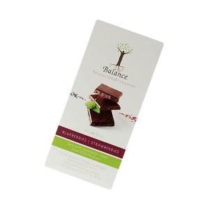 Balance Belgian Luxury Chocolate mit Stevia Dark Blueberries Strawberries 85 g. Herzhafte, dunkle Schokolade mit Heidelbeeren und Erdbeeren.