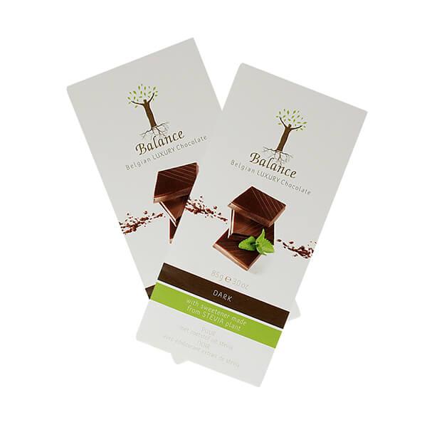 Balance Belgian Luxury Chocolate mit Stevia Dark Dunkel 85 g. Edle, dunkle Schokolade aus Belgien. Mit wertvollem Stevia gesüßt.