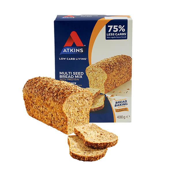Atkins Eiweiß Brotbackmischung mit Samenmix und Hefesachet 400 g. Köstliches Brot mit hohem Eiweißgehalt und wenig Kohlenhydraten.