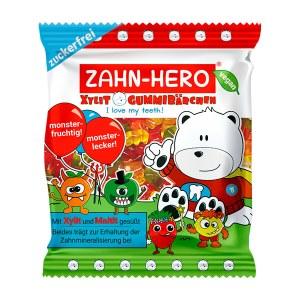 ZAHN-HERO Xylit-Gummibärchen glutenfrei vegan 75 g. Zuckerfreie, zahnfreundliche Gummibärchen mit Xylit und Maltit gesüßt.