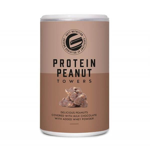 GOT7 Protein Peanut Towers schokolierte Erdnüsse Erdnussberge Vollmilchschokolade 85 g Dose. Köstliche, knackige Erdnüsse umhüllt mit Proteinschoklade.
