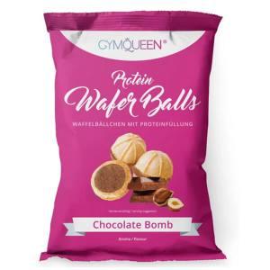 GymQueen Protein Wafer Balls Snack Waffelbällchen mit Proteinfüllung 75 g Schokolade. Köstlicher Proteinsnack für unterwegs. Hoher Proteingehalt von 20%.