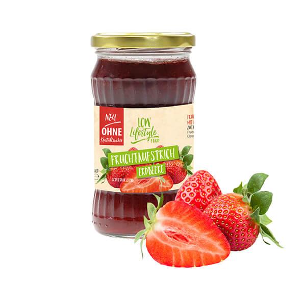 """LCW Gourmet Fruchtaufstrich """"Erdbeere"""" 340 g. Köstlicher Aufstrich aus hochwertigen Früchten. Nur 1,9 g Zucker pro Portion."""