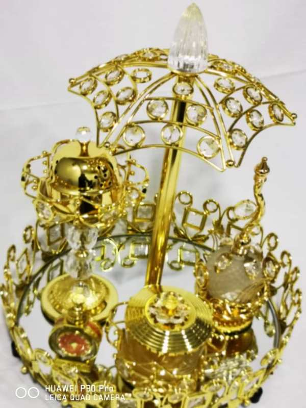 WhatsApp Image 2020 06 03 at 7.42.07 PM 1 - Gold Tray set with bowl burner with Small Attar And Perfume Bottle