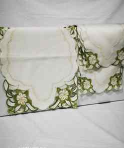 WhatsApp Image 2020 06 03 at 7.43.51 PM 1 - Coffee Table Cloth with 4 Pc side Table Cloth - Cream and Green