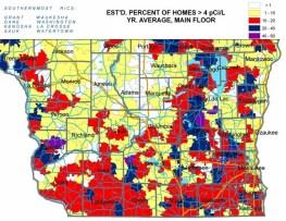 Radon concentration map