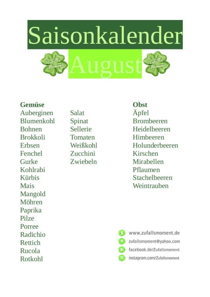 Saisonkalender, regional einkaufen
