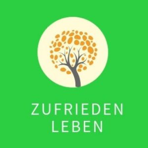 Logo von zufrieden leben - ein Baum mit orangen Blättern auf grünem Feld