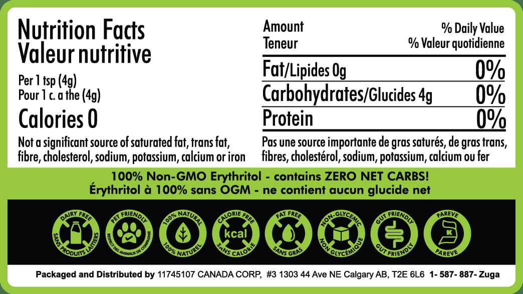 zuga erythritol nutritional information