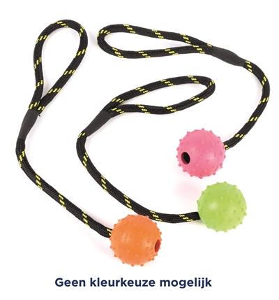 Happy pet tough toys rubber bal aan werptouw