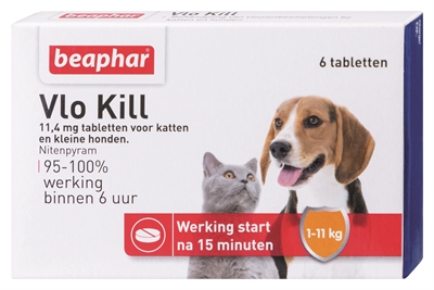 Beaphar vlo kill+ kleine hond/kat tot 11 kg